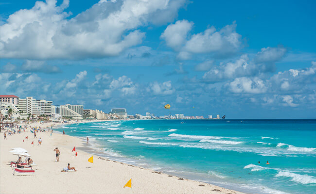 Active beach day in Cancun
