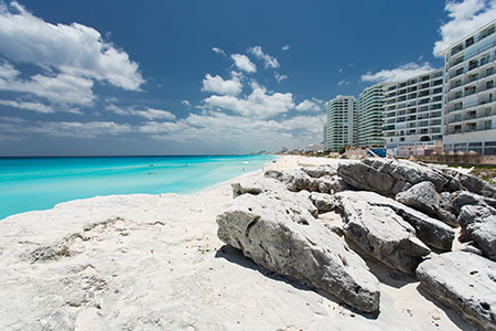 Cancun Beach with rocks