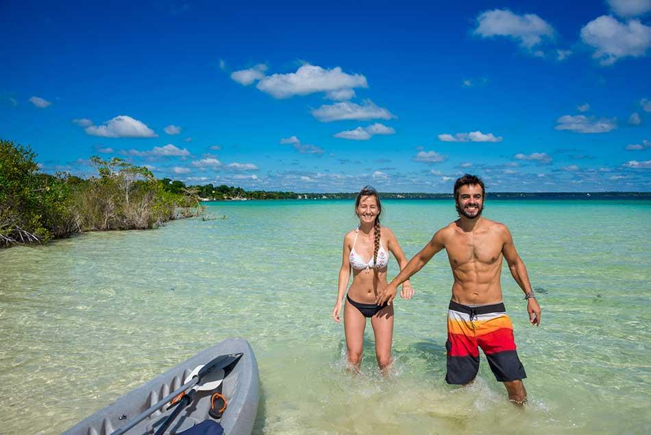 Couple enjoying Lake Bacalar