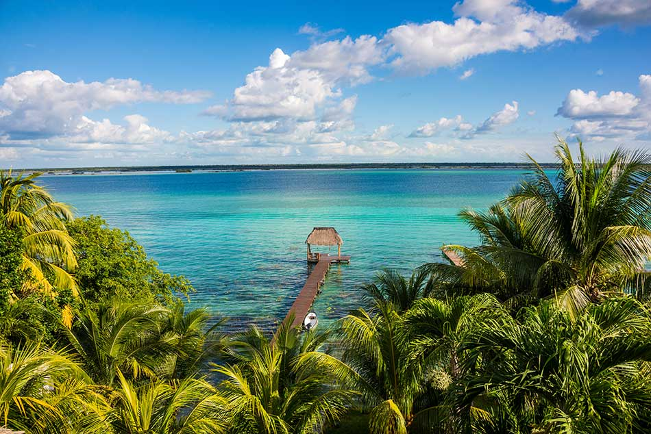 Lake Bacalar pier from above