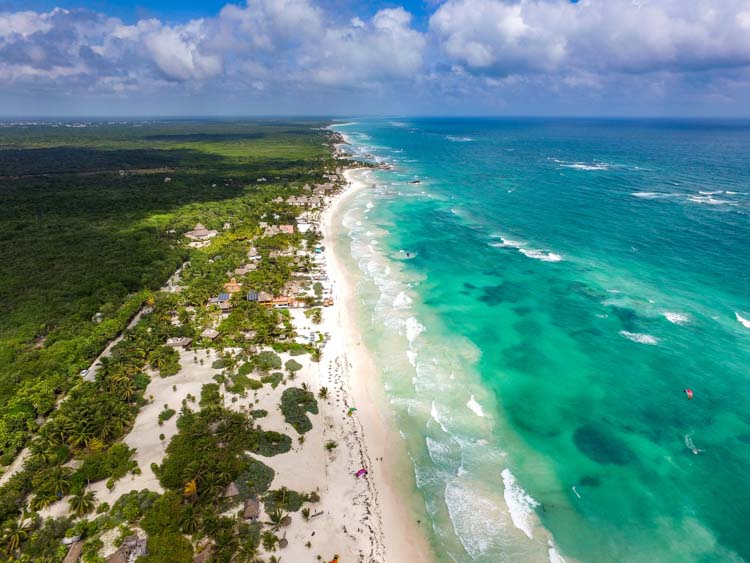 Aerial View of Beaches in Tulum from Drone