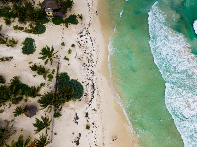 Tulum Beach aerial view