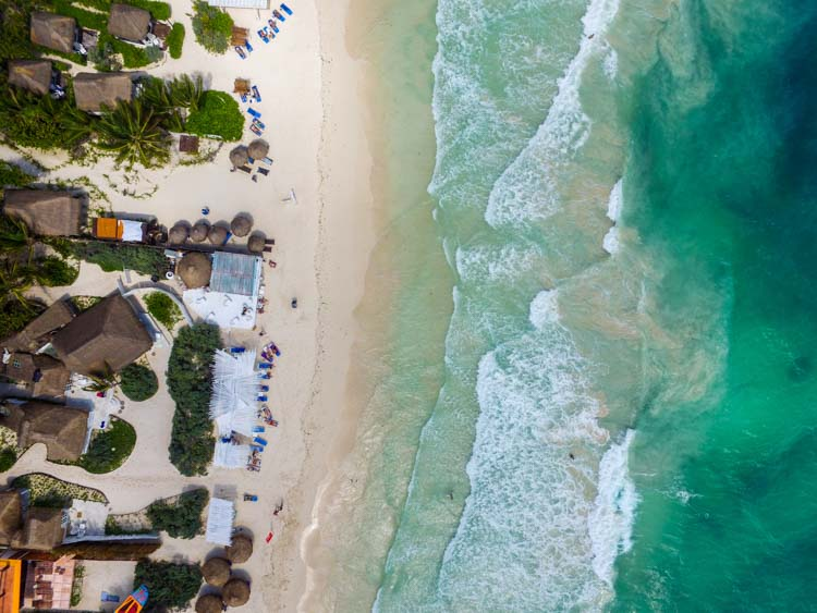 Tulum Beach and Cabanas Aerial View