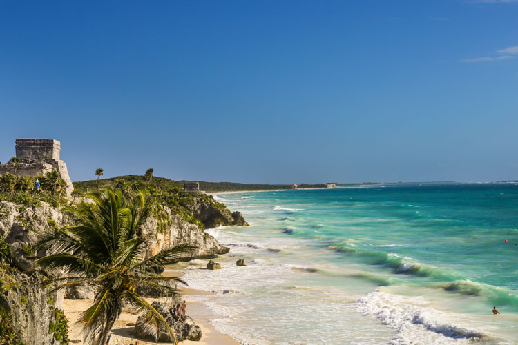 Beach in Tulum near Ruins
