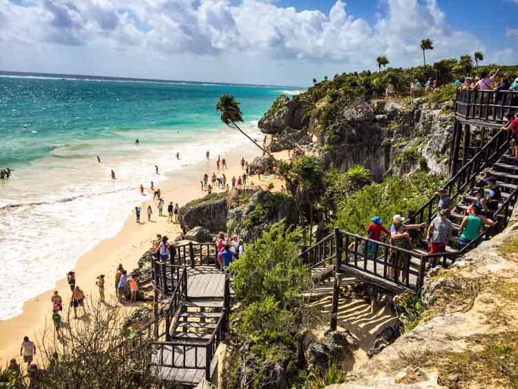 Tulum Ruins with stairs to beach